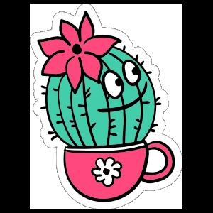Cheerful Catus with Flower Cartoon Sticker
