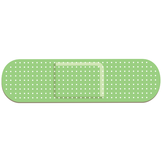 Oblong Green Band Aid Bandage Sticker