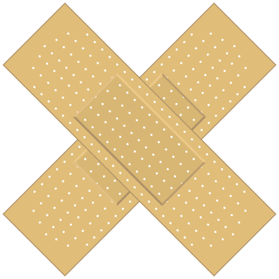 Rectangular Crossed Band Aid Bandage Sticker