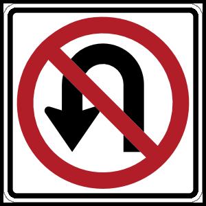 No U Turn Arrow Sticker