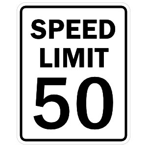 Speed Limit 50 Sticker