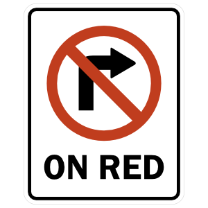 Do Not Turn Right On Red Sticker