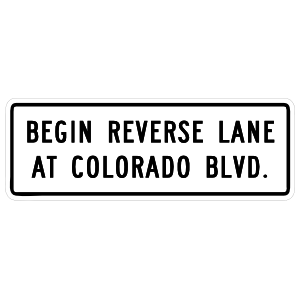 Begin Reverse Lane At Colorado Blvd Magnet