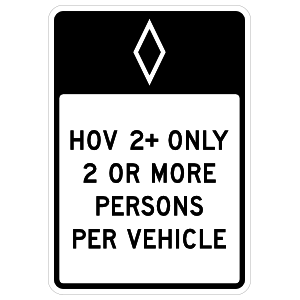 HOV 2+ Only 2 or More Persons Per Vehicle Sticker
