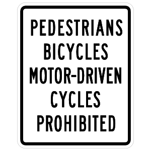 Pedestrians Bicycles Motor-Driven Cycles Prohibited Sticker