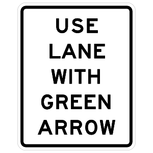 Use Lane With Green Arrow Sticker