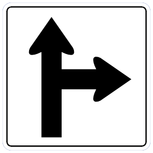 Straight With Right Turn Sticker