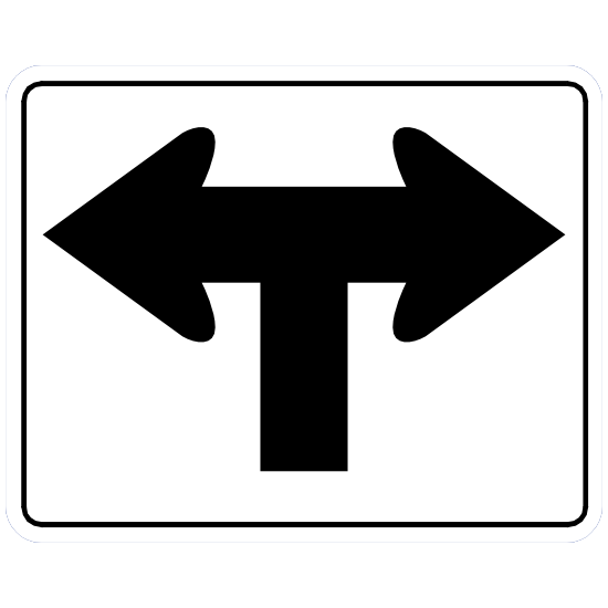 Straight Then Left Or Right Sticker
