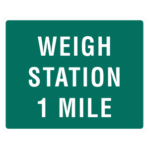 Weigh Station 1 Mile Sticker