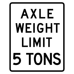 Axle Weight Limit 5 Tons Sticker