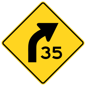 Speed 35 On Curve Right Sticker