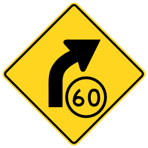 Speed 60 On Curve Right Sticker