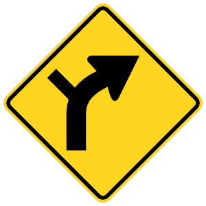Road Curves Right With Left Turn Sticker