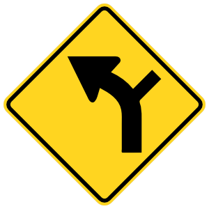 Road Curves Left With Right Turn Sticker