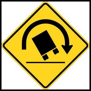 Warning Trucks May Tip Left Magnet