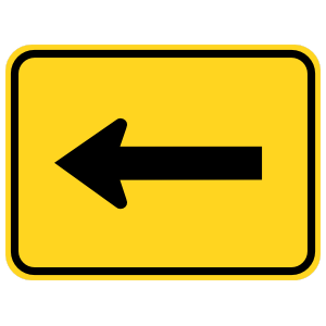 Left Arrow Warning Sticker