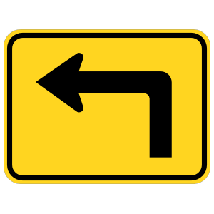 Left Turn Arrow Warning Sticker