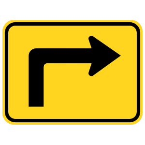 Right Turn Arrow Warning Sticker
