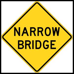 Warning Narrow Bridge Magnet