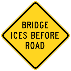 Warning Bridge Ices Before Road Sticker