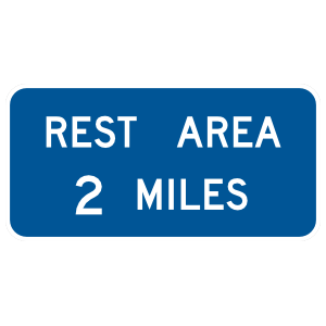 Rest Area 2 Miles Sticker