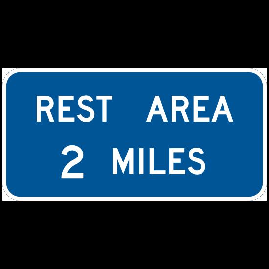 Rest Area 2 Miles Sticker