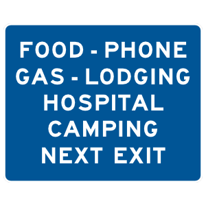 Food, Phone, Gas, Lodging, Hospital, Camping Next Exit Sticker