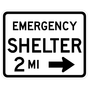 Emergency Shelter 2 Miles To Right Magnet