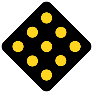 Black Road Sign With Yellow Dots Magnet