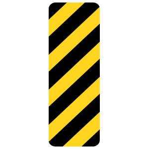 Black And Yellow Stripes To Right Sticker