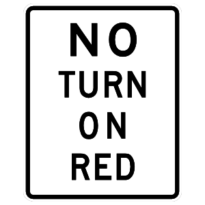 No Turn On Red Sign Sticker