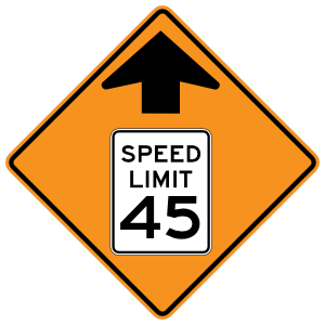 Speed Limit 45 Ahead Magnet