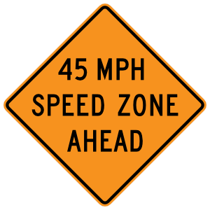 45 Mile Speed Zone Ahead Sticker