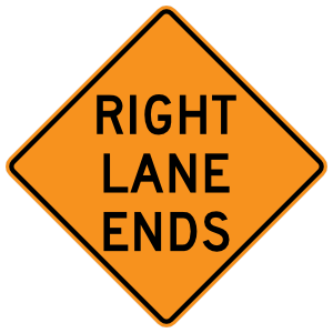 Right Lane Ends Sticker
