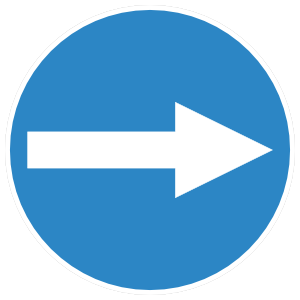 Arrow Blue Circle Sign Sticker
