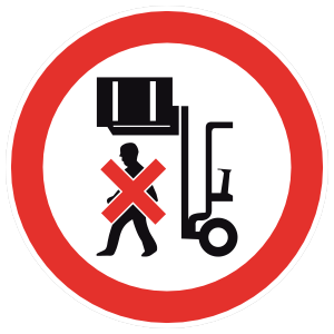 No Standing Under Forklifts Sign Magnet