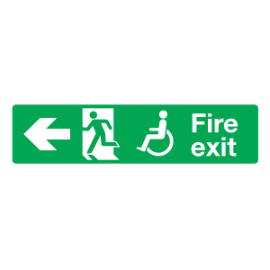 Handicapped Fire Exit Left Sign Magnet