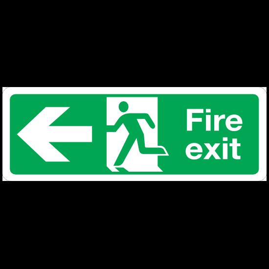 Left Fire Exit Sign Sticker