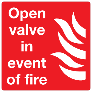 Open Valve In Event Of Fire Sign Sticker