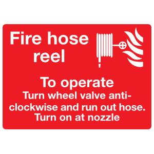 Fire Hose Reel Operation Instructions 1 Sign Sticker