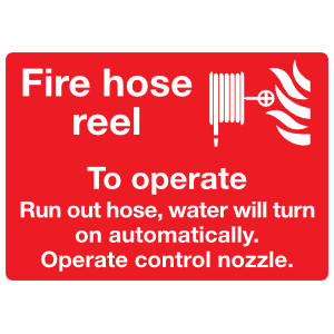 Fire Hose Reel Operation Instructions 2 Sign Sticker