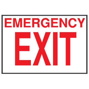 White Emergency Exit Sign Sticker