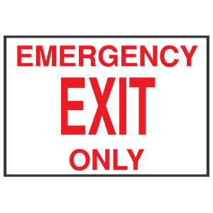 White Emergency Exit Only Sign Sticker