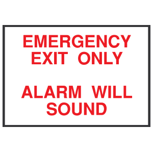 Emergency Exit Only Alarm Will Sound Sign Sticker