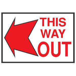 This Way Out Left Sign Sticker