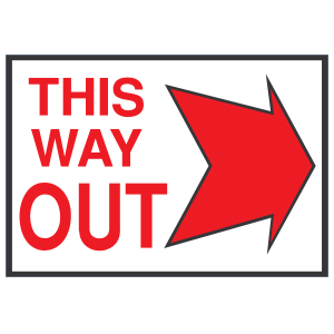 This Way Out Right Sign Sticker