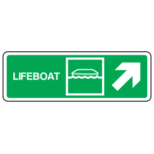 Lifeboat Upper Right Arrow Sign Sticker