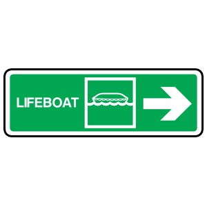 Lifeboat Right Arrow Sign Station Sticker