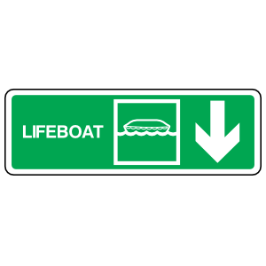 Lifeboat Down Arrow Sign Station Sticker