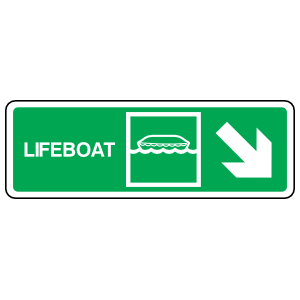 Lifeboat Lower Right Arrow Sign Station Sticker